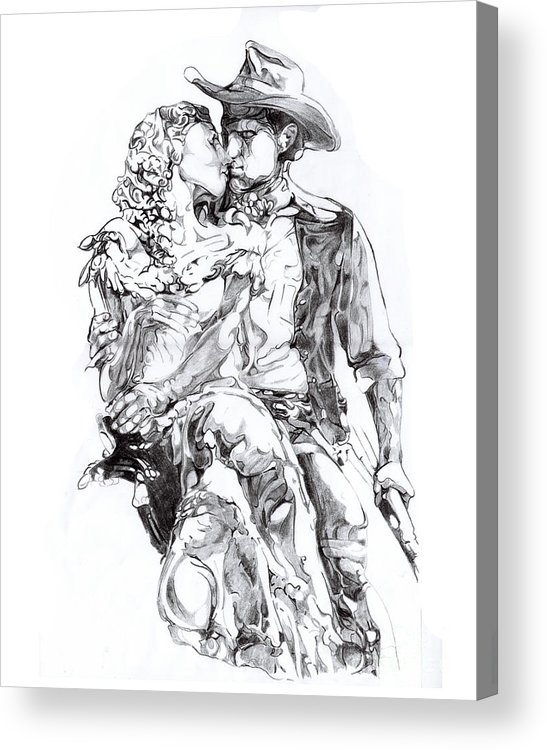 Black And White Acrylic Print featuring the drawing Cowboy by Mike Massengale