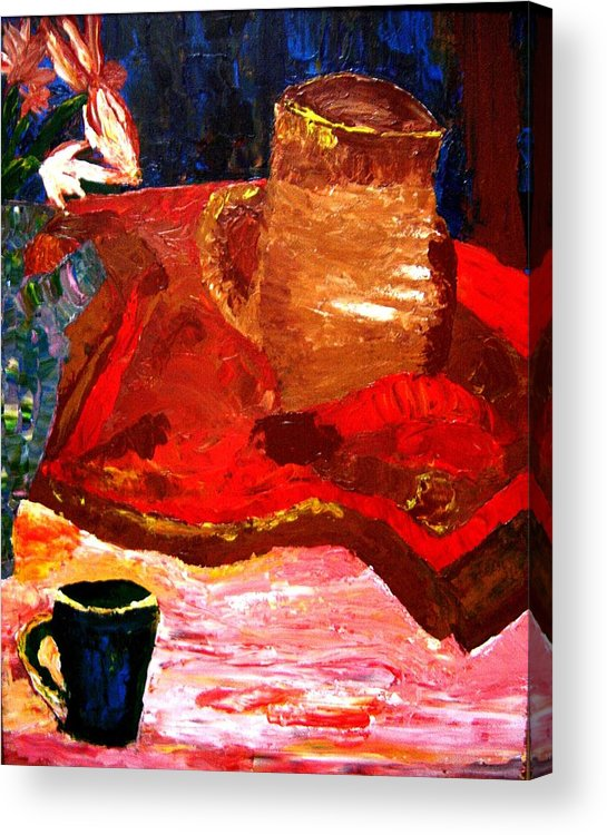 Still Life Acrylic Print featuring the painting Crock And Coffee by Karen L Christophersen