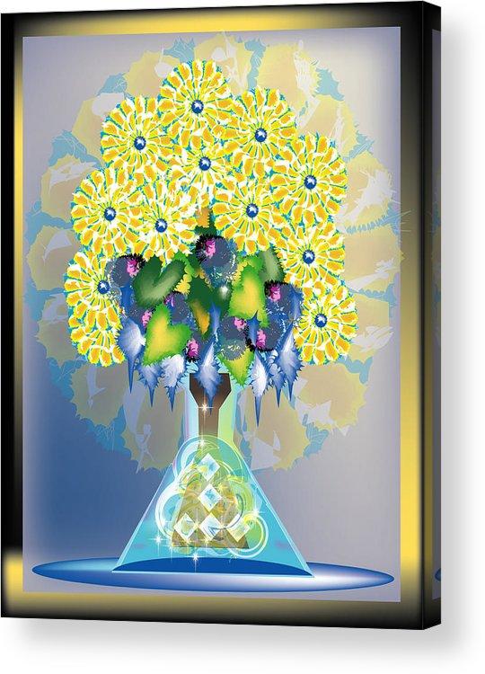 Flowers Acrylic Print featuring the digital art Crystal Boquet by George Pasini
