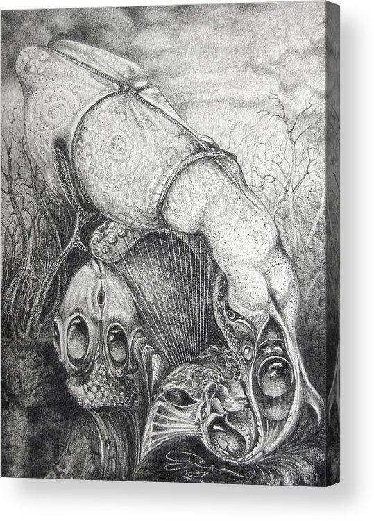 Surrealism Acrylic Print featuring the drawing Ctulhu Seedpods by Otto Rapp