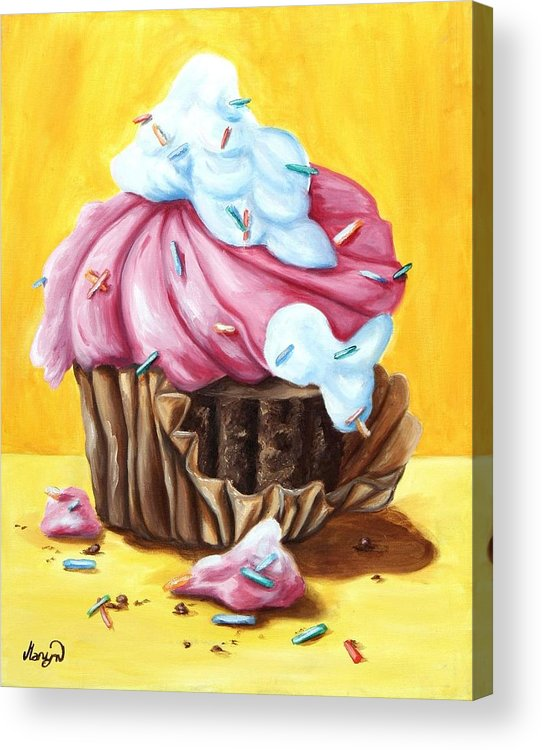 Cupcake Acrylic Print featuring the painting Cupcake by Maryn Crawford