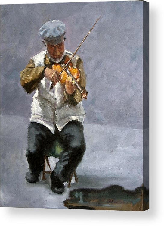 Figure Acrylic Print featuring the painting Curbside Concerto by Kathy Busillo