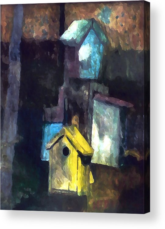 Birdhouses Acrylic Print featuring the painting David's Birdhouses by Tom Herrin
