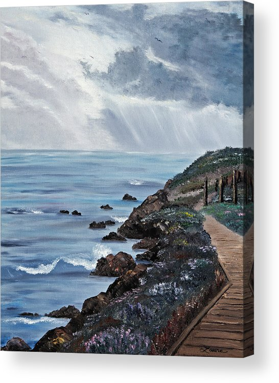 Seascape Acrylic Print featuring the painting Departing Storm by Laura Iverson