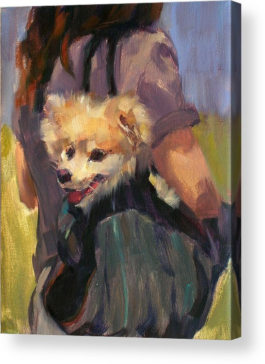 Dog Acrylic Print featuring the painting Dog In A Backpack by Merle Keller