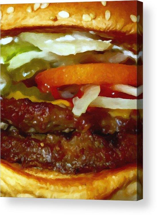 Mcdonald Acrylic Print featuring the photograph Double Whopper With Cheese And The Works - Painterly by Wingsdomain Art and Photography