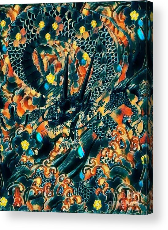 Dragon Acrylic Print featuring the mixed media Dream Dragon by Hans Gns