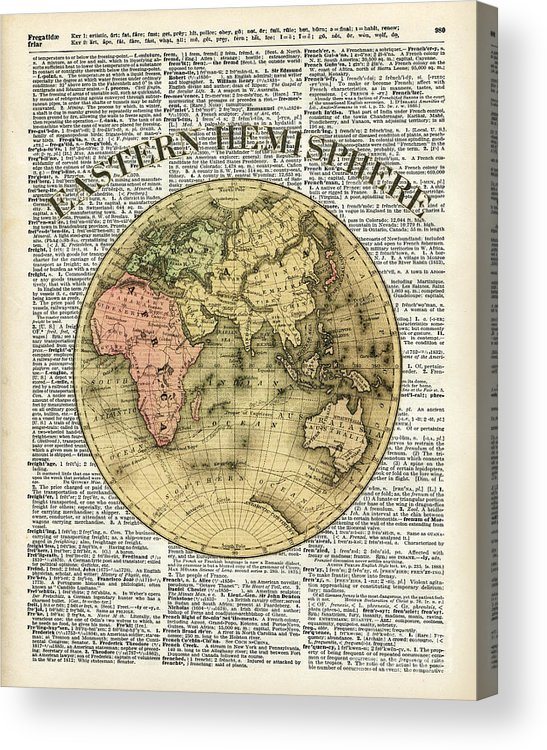 Vintage Acrylic Print featuring the painting Eastern Hemisphere Earth Map Over Dictionary Page by Anna W