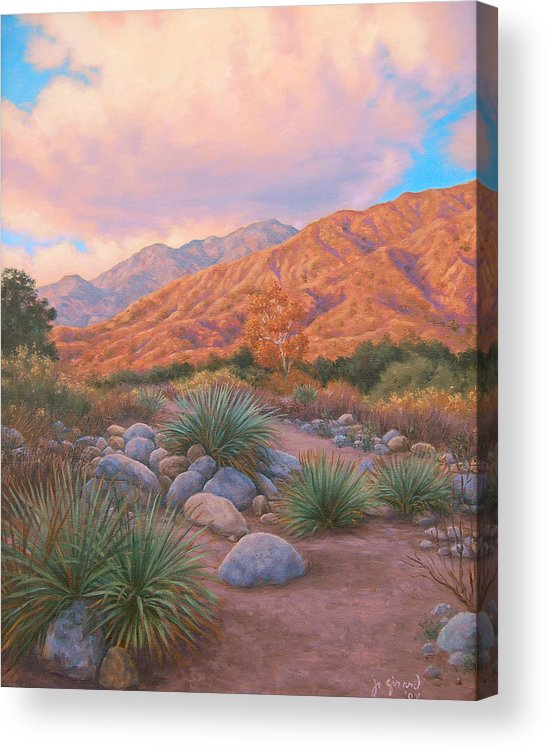 Southwest Desert California Western Mountains Sunset Yuccas Acrylic Print featuring the painting Eaton Canyon Sunset by Johanna Girard