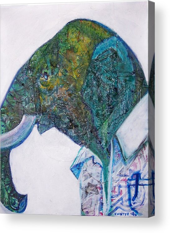 Elephant Acrylic Print featuring the mixed media Elephant Man by Dave Kwinter