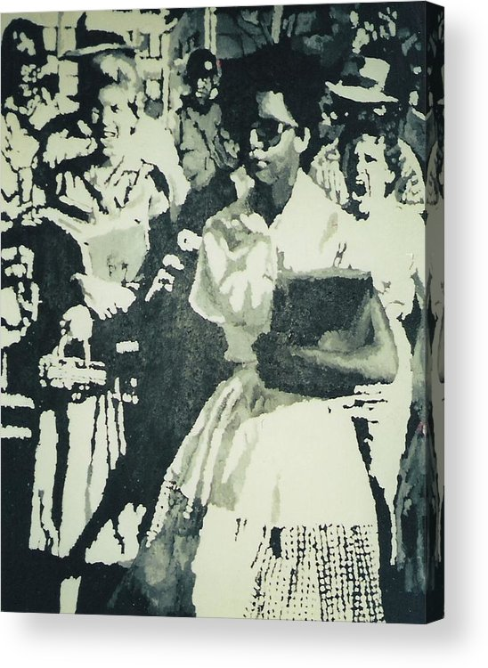 Civil Rights Acrylic Print featuring the painting Elizabeth Eckford Making Her Way To Little Rock High School 1958 by Lauren Luna