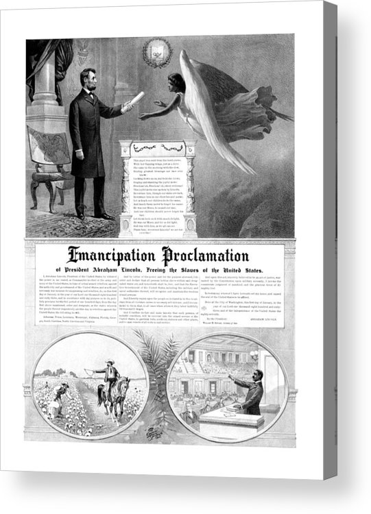 Emancipation Proclamation Acrylic Print featuring the mixed media Emancipation Proclamation by War Is Hell Store