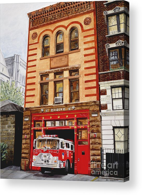Firehouse Acrylic Print featuring the painting Engine Company 47 by Paul Walsh
