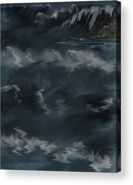 Seascape Acrylic Print featuring the painting Evening Lights And Rocks by Anne Norskog