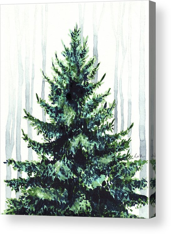 Acrylic Christmas Tree Painting.Evergreen Tree In Winter Woods Watercolor Painting Christmas Holiday Wintertime Acrylic Print
