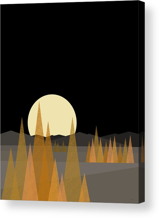 Fall Moon Vertical Acrylic Print featuring the digital art Fall Moon - Vertical by Val Arie