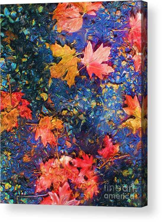 Fall Acrylic Print featuring the mixed media Falling Blue Leave by Marilyn Sholin