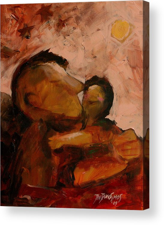Fatther Acrylic Print featuring the painting Fathered by Jun Jamosmos