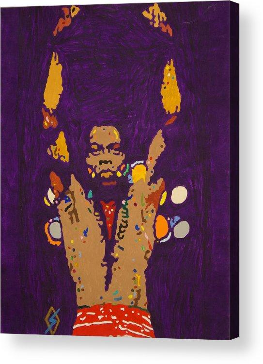 Fela Kuti Acrylic Print featuring the painting Fela Live by Stormm Bradshaw