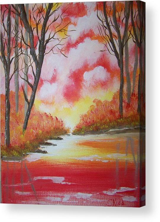 Lake Acrylic Print featuring the painting Fire Of God by Laurie Kidd
