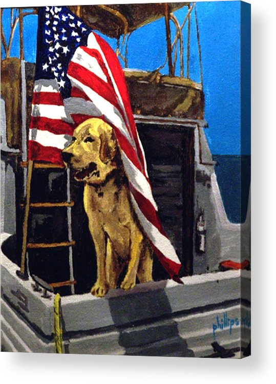 Dog Acrylic Print featuring the painting First Mate by Jim Phillips