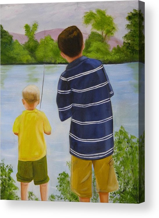 Children Acrylic Print featuring the painting Fishin by Joni McPherson