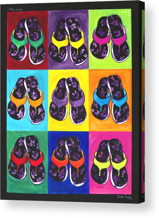 Flip Flops Acrylic Print featuring the painting Flip Flops After Andy Warhol by Linda Kegley