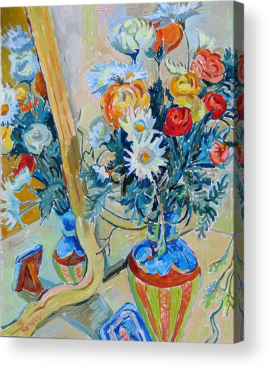 Flowers Acrylic Print featuring the painting Flowers And Memories by Vitali Komarov