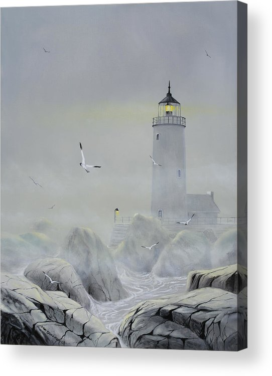 Seascape Acrylic Print featuring the painting Foggy Light by Don Griffiths
