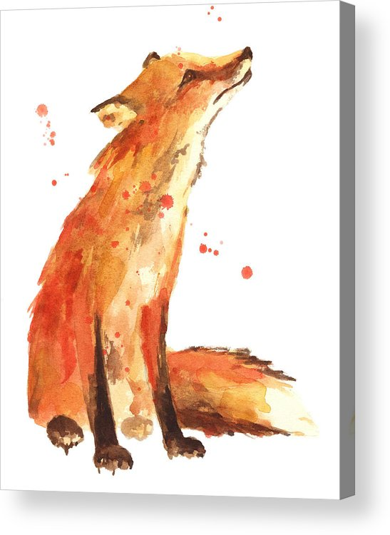 Red Fox Acrylic Print featuring the painting Fox Painting - Print From Original by Alison Fennell