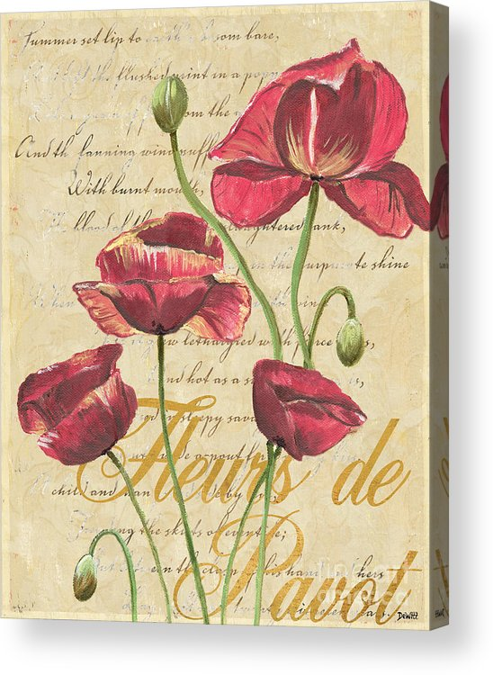 French Acrylic Print featuring the painting French Pink Poppies by Debbie DeWitt