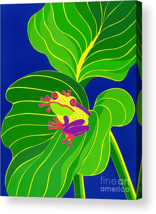 Nature Acrylic Print featuring the drawing Frog On Leaf by Lucyna A M Green