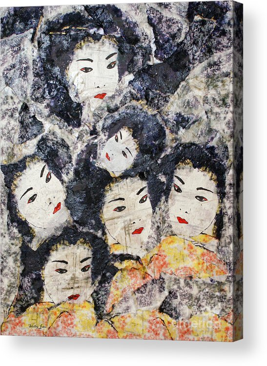 Geisha Acrylic Print featuring the mixed media Geisha by Shelley Jones