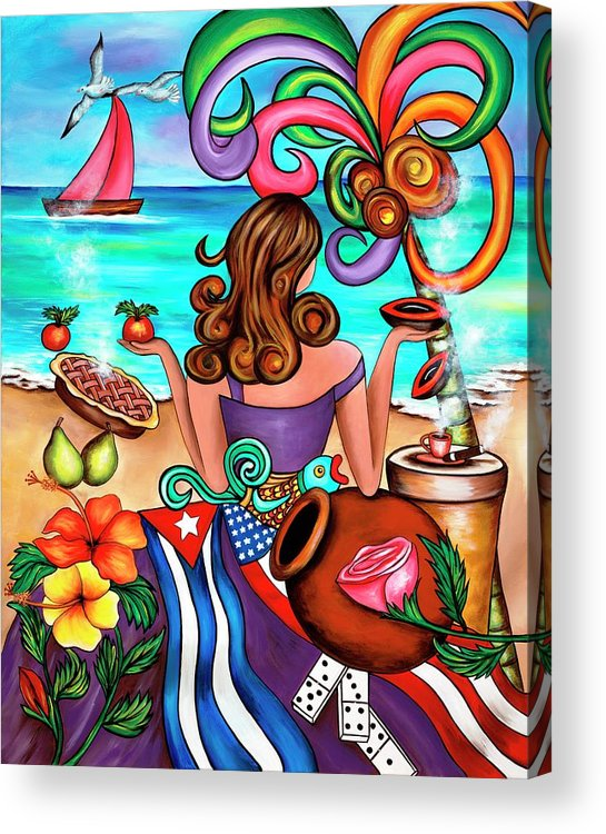 Cuba Acrylic Print featuring the painting Generation Spanglish by Annie Maxwell