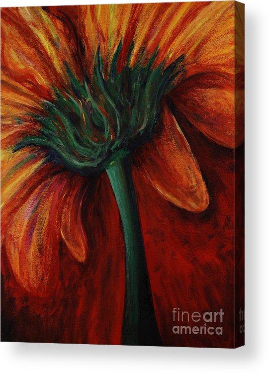 Gerbera Daisy.daisy Acrylic Print featuring the painting Gerbera Daisy by Nadine Rippelmeyer