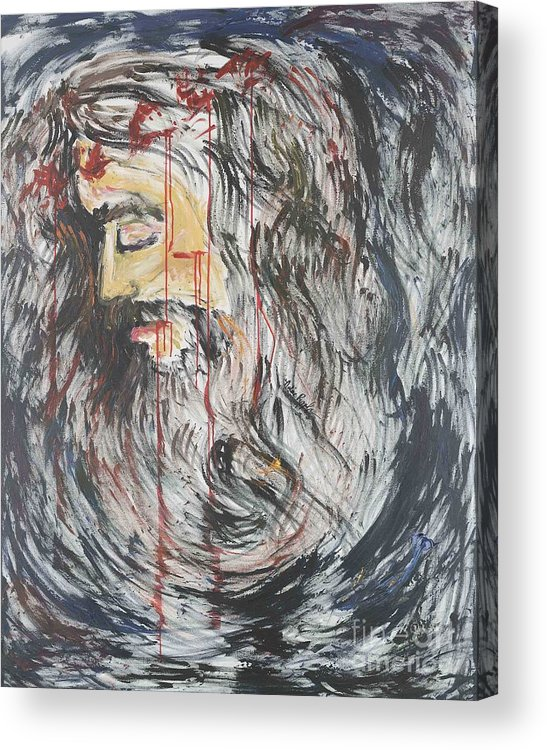 Jesus Acrylic Print featuring the painting Gethsemane To Golgotha IIi by Nadine Rippelmeyer