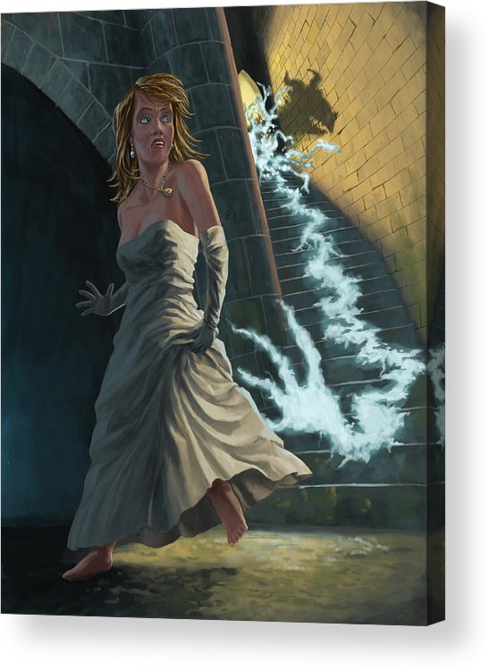 Princess Acrylic Print featuring the painting Ghost Chasing Princess In Dark Dungeon by Martin Davey