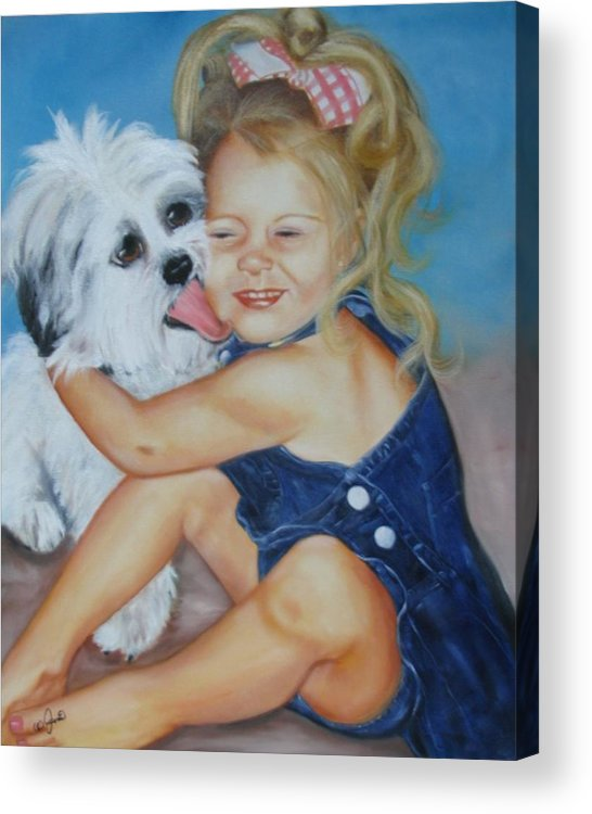 Child Acrylic Print featuring the painting Girl With Puppy by Joni McPherson