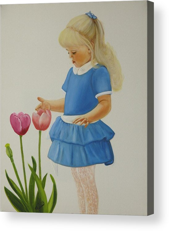 Portrait Acrylic Print featuring the painting Girl With Tulips by Joni McPherson