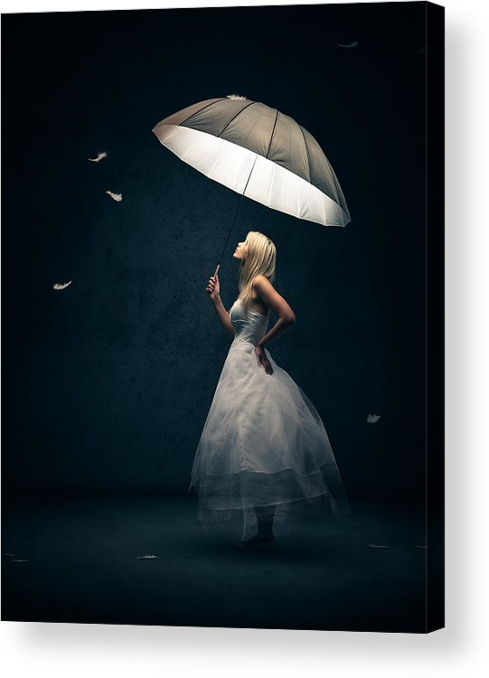 Girl Acrylic Print featuring the photograph Girl With Umbrella And Falling Feathers by Johan Swanepoel