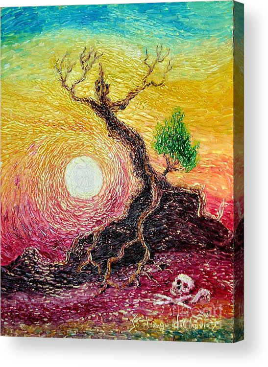 Impressionism Acrylic Print featuring the painting Greed- Homage To Van Gogh by Santiago Chavez