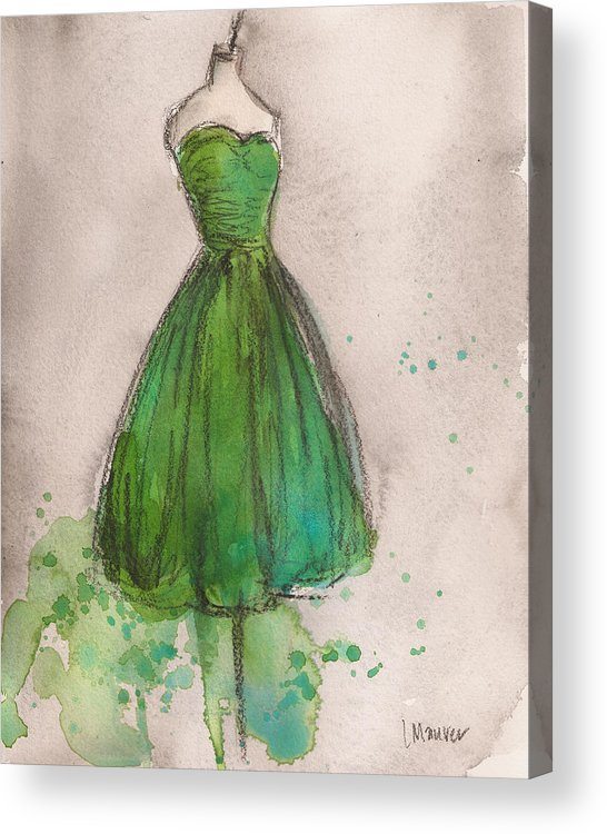 Green Acrylic Print featuring the painting Green Strapless Dress by Lauren Maurer