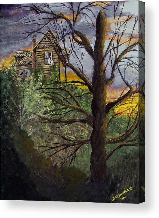 House Acrylic Print featuring the painting Haunted House by Quwatha Valentine