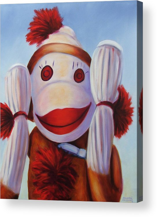 Children Acrylic Print featuring the painting Hear No Bad Stuff by Shannon Grissom