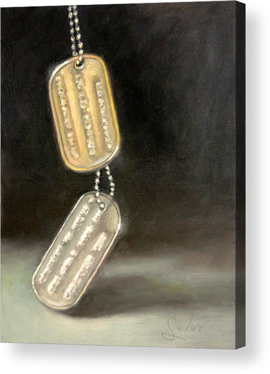 Still Life Acrylic Print featuring the painting Heavy Metal...the Weight Of Serving by Larry Seiler