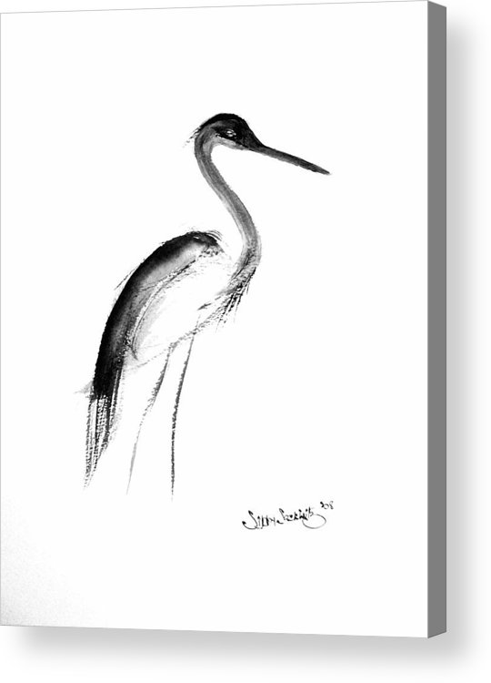 Sumi-e Acrylic Print featuring the painting Heron by Sibby S