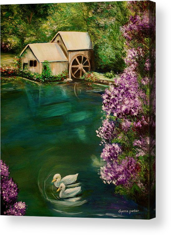 Landscape Acrylic Print featuring the painting Hidden Lake by Dyanne Parker