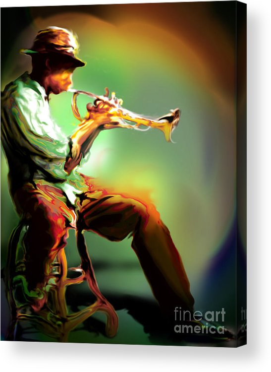Jazz Art Acrylic Print featuring the painting Horn Player II by Mike Massengale