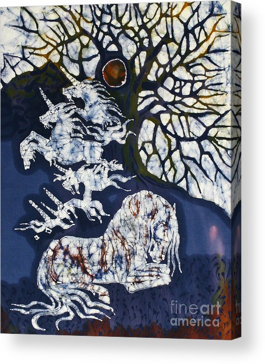 Horse Acrylic Print featuring the tapestry - textile Horse Dreaming Below Trees by Carol Law Conklin