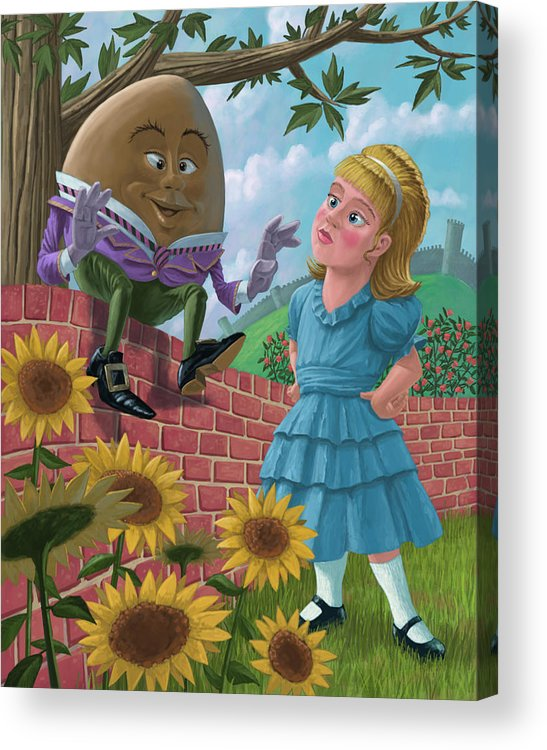 Humpty Acrylic Print featuring the painting Humpty Dumpty On Wall With Alice by Martin Davey